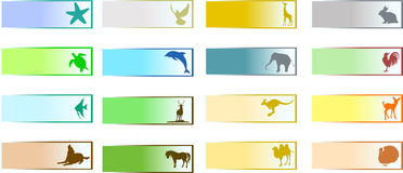 Banners with animal. Colorful banners with animal silhouettes Stock Photography