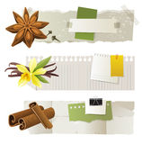Banners with anise, vanilla, cinnamon. 3 paper banners with anise, vanilla and cinnamon Stock Photo