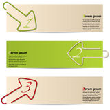 Banners with arrow paper clips Royalty Free Stock Image