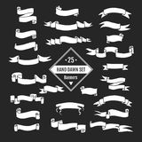 Banners and arrows. Vector  hand drawn big set of ribbon banners and arrows  on black background and easy to use. Black and white collections Stock Photography