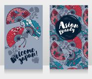 Banners for asian beauty and travels with  traditional asian hand paper fans Stock Images