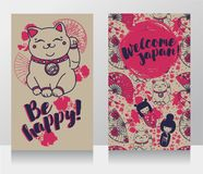 Banners for asian travels with traditional japanese souvenir - maneki neko Stock Images
