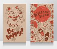 Banners for asian travels with traditional japanese souvenir - maneki neko Stock Photo