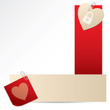 Banners with notepaper and heart Royalty Free Stock Image