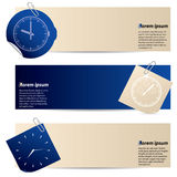 Banners with attached notepaper and sticker Royalty Free Stock Photos