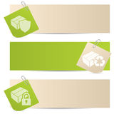 Banners with attached notepapers Royalty Free Stock Photos