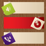Banners on wooden background Royalty Free Stock Photography