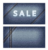 Banners with background of denim texture Royalty Free Stock Image