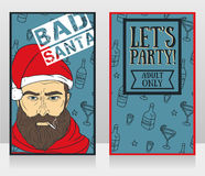 Banners for bad santa party Royalty Free Stock Photos