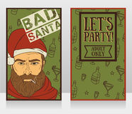 Banners for bad santa party Royalty Free Stock Photography