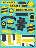 Banners, Badges and Bookmarks Collection. A set of retro style banners, bookmarks and badges vector illustration