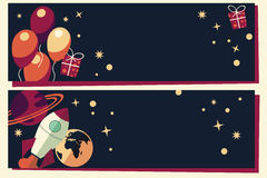 Banners with balloons, presents, rocket ship and planets Stock Photo