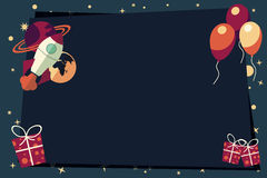 Banners with balloons, presents, rocket ship and planets Stock Images