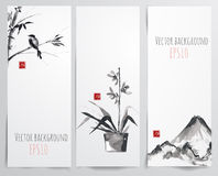 Banners with bamboo, orchid and bird Royalty Free Stock Photography