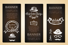 Banners with barber elements, vector. Stock Image