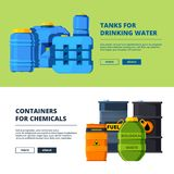 Banners with barrels. Various horizontal banners template with illustrations of different water and oil tanks. Vector barrel oil and water drinking cask stock illustration