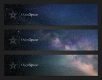 Banners with beautiful starry sky, milky way and Northern lights Royalty Free Stock Images