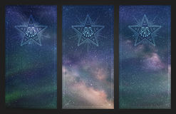 Banners with beautiful starry sky, milky way and Northern lights Stock Photos