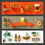 Banners with beer icons and objects in flat style Stock Images