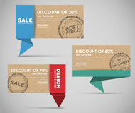 Banners  for big sale, origami style Stock Images