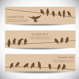 Banners with birds on wires Stock Photo