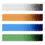 Banners with black blue green orange brown white h. Exagonal like bamboo preparation Royalty Free Stock Photos