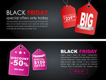 Banners Black Friday sale Royalty Free Stock Photos