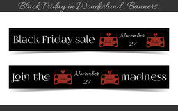 Banners Black Friday Sale in Wonderland - Jewelry. Box. Vector Illustration for Graphic Projects, Parties and the Internet Royalty Free Stock Image