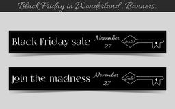 Banners Black Friday Sale in Wonderland - the Key. Vector Illustration for Graphic Projects, Parties and the Internet Royalty Free Stock Image