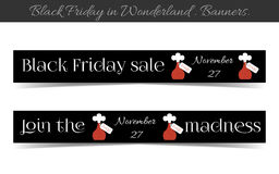 Banners Black Friday Sale in Wonderland. Vector Illustration for Graphic Projects, Real Life Parties and the Internet Stock Photo