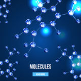 Banners with blue molecules design. Abstract molecules design. 3d atomic structure molecule model grid over blue background. Banners with blue molecules design Royalty Free Stock Images