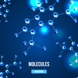 Banners with blue molecules design. Abstract molecules design. 3d atomic structure molecule model grid over blue background. Banners with blue molecules design Stock Photography