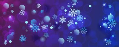 Banners with bokeh effect and snowflake. Vector Stock Photo