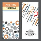 Banners with bolts nuts nails. Various iron screws collection Royalty Free Stock Photos