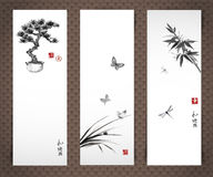 Banners with bonsai tree, butterflies bamboo Royalty Free Stock Image