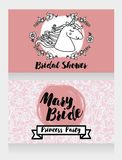 Banners for bridal shower with cute unicorn and floral frame. Can be used as invitation for birthday party or baby shower party, vector illustration Royalty Free Stock Image