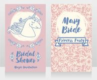 Banners for bridal shower with cute unicorn and floral frame. Can be used as invitation for birthday party or baby shower party, vector illustration Royalty Free Stock Photos