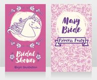 Banners for bridal shower with cute unicorn and floral frame. Can be used as invitation for birthday party or baby shower party, vector illustration Stock Photo