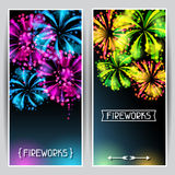 Banners with bright colorful fireworks and salute.  Royalty Free Stock Photography