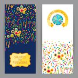 Banners with bright colorful fireworks and salute.  Royalty Free Stock Photo