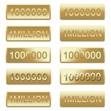 Banners and Buttons of One Million. In numbers and words illustrations for print and websites use with gradient colors of gold tint royalty free illustration
