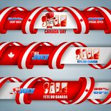 Banners for Canada day, sales commercial event. Set of web banners with 3d texts, maple leaf and national flag colors for first of July, Canada day, sales Stock Image