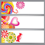 Banners with candies Stock Image