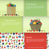 Banners or cards with berries in flat style. Vector illustration. Set of horizontal banners with basket, package with berries. Flat design vector illustration royalty free illustration