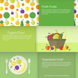 Banners or cards with fruits, plate and basket in flat style. Vector illustration Royalty Free Stock Photos