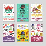 Banners or cards set with illustrations of funny tools for masquerade. Design template with place for your text. Masquerade holiday banner, party carnival card Stock Images