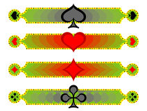 Banners cards suite. Banner set with playing suits, including spades, diamonds, hearts, clubs Stock Photo