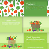 Banners or cards with vegetables. Vector illustration. Set of horizontal business cards with a basket and a package with vegetables. Flat vector illustration royalty free illustration