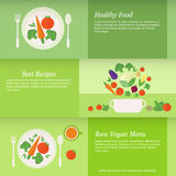 Banners or cards with vegetables. Vector illustration Stock Images