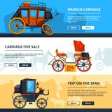 Banners with carriage pictures. Horizontal banners with place for your text stock illustration